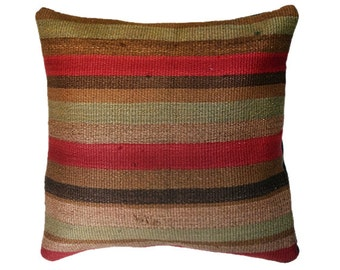 Turkish kilim pillow cover Natural pillow Handmade pillow Decorative pillow Vintage pillow Tribal Pillow Cushion cover 17 x 17 inches
