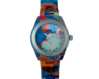Origin - Women - Bracelet Watch and case orange, green and blue stainless steel - made in France