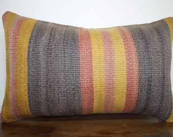 """12"""" x 20"""" kilim pillow lumbar pillow kilim lumbar pillow faded color turkish kilim pillow boho pillow striped pillow cushion cover SP3050-1"""