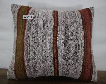 Striped Kilim Cushion 16x18 Vintage Kelim Pillow Cushion Cover,Striped Kilim Pillow Sofa Pillow,Bohemian Pillow Decorative Pillow SP4040-473