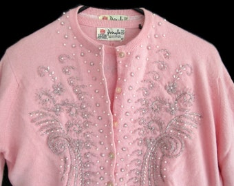Vintage Pringle Bubblegum Pink Beaded Cashmere Twinset size 40