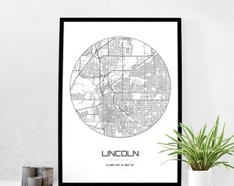 Lincoln Map Print - City Map Art of Lincoln Nebraska Poster - Coordinates Wall Art Gift - Travel Map - Office Home Decor
