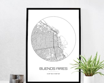 Buenos Aires Map Print - City Map Art of Buenos Aires Argentina Poster - Coordinates Wall Art Gift - Travel Map - Office Home Decor