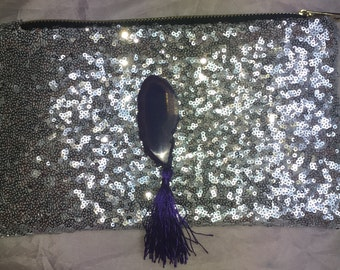 Agate crystal sequin clutch