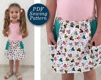 Super Easy Skirt PDF sewing Pattern. Toddler Girl's Skirt Pattern, Girl pocket skirt , Skirt Pattren with pockets size 1-14 years