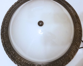 "13"" Antique Brass Renaissance Flushmount ~ TESTED"