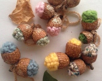 Crochet pastel acorn ornaments set