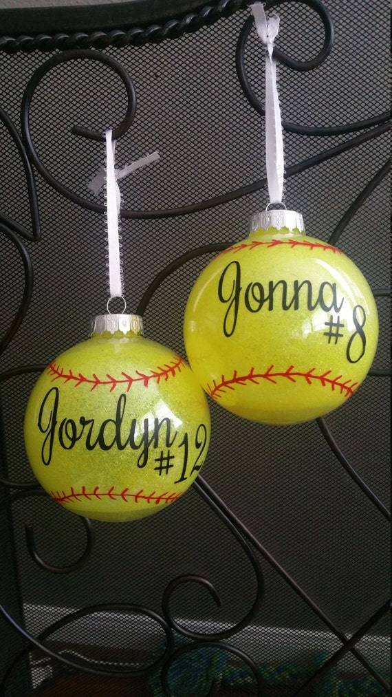 Softball Christmas Ornaments