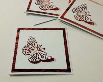Red Butterfly Cards, Butterfly Blank Card Set, Love Card, Valentine Card, Wedding, Engagement, Anniversary, Thankyou, Birthday 3D Butterfly