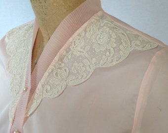 1960s pink sheer blouse with lace trim