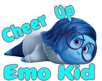 Cheer Up Emo Kid, Inside Out  T-Shirt (men's and women's sizes available)