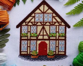 Little German House - Modern Detail Cross Stitch Pattern PDF. Instant download. Home