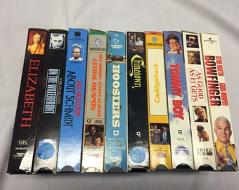 Lot of 10 vintage VHS tapes Movies bow finger, Tommy boy, about Schmidt, caddyshack
