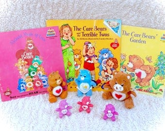 Vintage Care Bears Miniature PVC And Poseable Action Figure Plush & Book Lot 1983 Minis Figurines 80s 1980s Original Retro Hallmark AGC