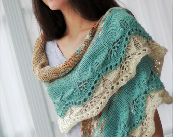 Knitting pattern, Patron tricot PDF – Ida Shawl, hand knitted multicolor lace shawl, easy knit, wrap, neck warmer, scarf.