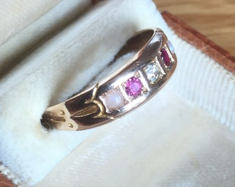 Antique 15ct gold diamond ruby & pearl ring - 1890