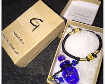 Bible Gem Rose Oil Necklace (Sapphire Blue)