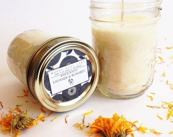 Essential oils Soy Candle / / Lavender & Rosemary / / Soy Candle aromatherapy Rosemary and Lavender