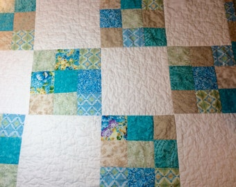 Turquoise/beige baby quilt