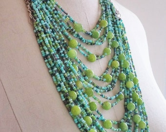 Layered Green and Turquoise Necklace