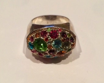 Multistone Bright Summer Tone Colored Ring Size 8 Very Nice