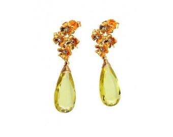 Faceted Peridot Earrings / Peridot Drop Earrings / Peridot Flower Earrings / Gold Flower Peridot Earrings / 24ct Gold Peridot Drops