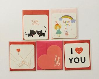 Mini Valentines Love Greeting Cards Set (5 pcs)