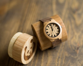 Hello Comfort! Bamboo Watch - Maple Color/Zebrawood face (Large Face)