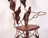 Rusted Metal Chair, unique organic design and chestnut seat