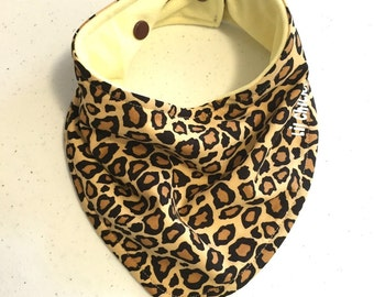 Brown Leopard Organic & Cotton Bandana bib Super Absorbent with Stay dry backing