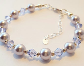 Swarovski Crystal & Pearl Bracelet, Sterling Silver Bracelet, Provence Lavender Swarovski Crystal, Lavander Swarovski Pearl, Purple Bracelet