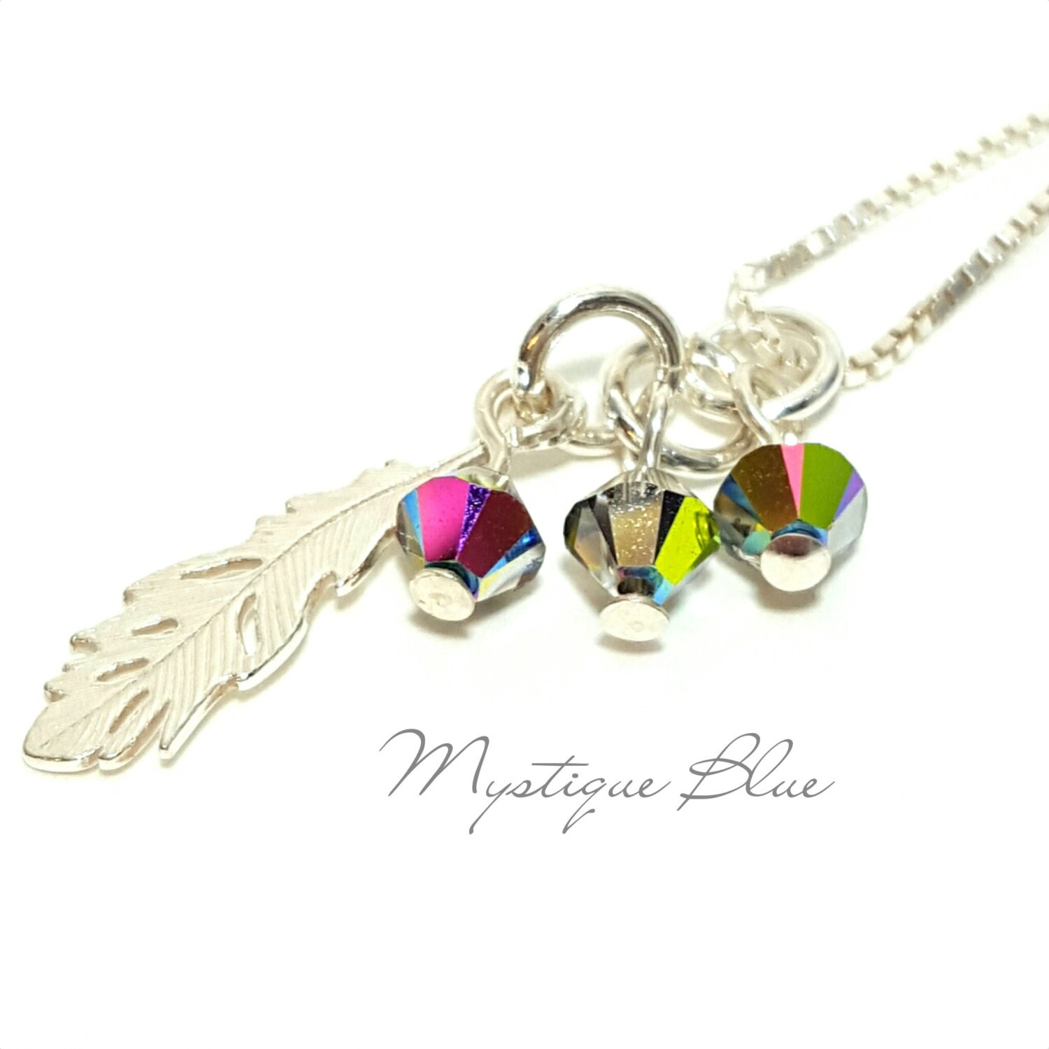 message necklace sterling silver feather necklace