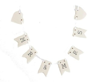 Mr & Mrs Garland, bunting, decoration, wedding, made from porcelain, home decor