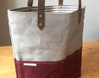 Waxed Canvas Tote--ready to ship!!!