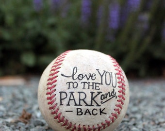 Hand Lettered Baseball, Father's Day, Anniversary, Birthday, Gift, Typography, Handprint, Thumb print, Heart, I love you, Wedding