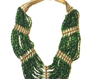 Vintage green black and silver beaded bib necklace