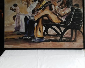 Classic Signed Print by Folk Artist Harmon Montgomery. Three R&B Musicians Performing on a Public Bench Somewhere in America.