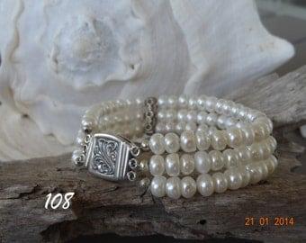 3 strand freshwater pearls & sterling silver bracelet