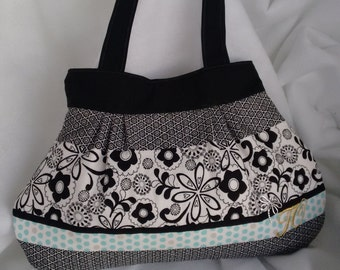 Black and White floral with Turquoise polk-a-dot Purse Style #B2