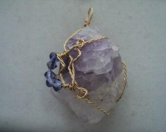 Pendant Amethyst Cluster with Violet Swarovski Crystals (#645   )