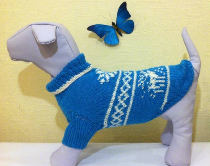 Knit Warm Winter Handmade Pattern Sweater For Dog. Knit Dog Pattern Clothing. Knit Pattern Pet Sweater. Big Dog Clothes. Size M