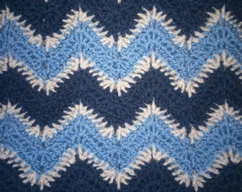 Blue and cream crochet chevron blanket