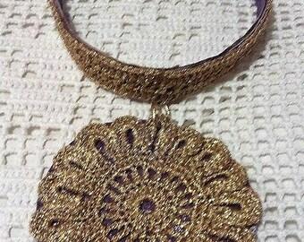 Crochet necklace pendant gold big