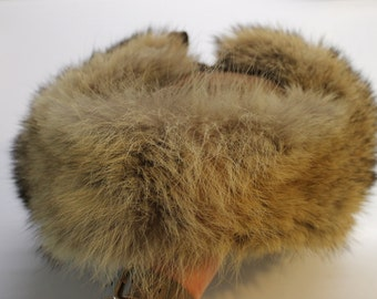 Vintage 70s Fox Fur and Leather Trapper Hat
