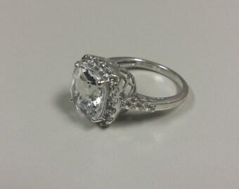 10K White Gold Ring With White Topaz