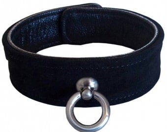 Collar with O ring, genuine leather
