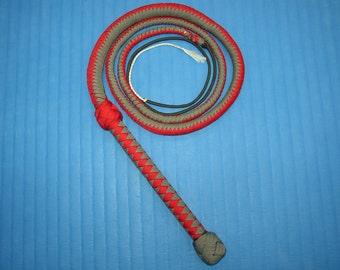 Six Foot Handcrafted Paracord Bullwhip - Red + Grey