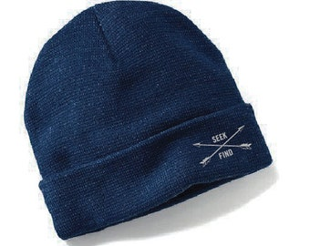 Seek & Find Cuffed Camp Beanie - Navy