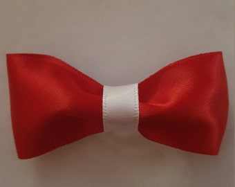 Handmade Red and White Hair Bow