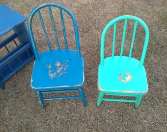 Emerald green- Indigo blue- kids chairs- windsor back hand painted furniture